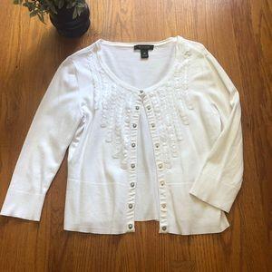 WHBM White Embellished Cardigan M
